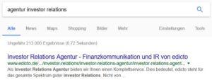 SEO Suchmaschinenoptimierung Onpage-Optimierung Agentur Investor Relations