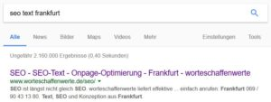 SEO Suchmaschinenoptimierung Onpage-Optimierung SEO Text Frankfurt
