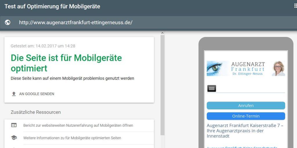 Mobile Webseiten Beispiel Search Konsole